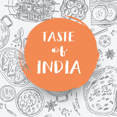 Hand drawn Indian food banner, Vector Illustration Ilustrace