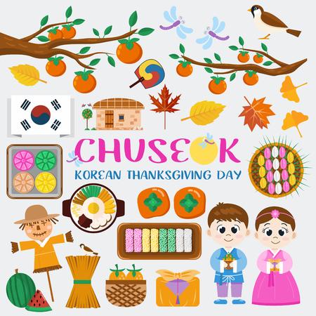 Icone del design piatto, Chuseok, simboli coreani del festival di metà autunno. Illustrazione di cibo tradizionale, costume e foglie d'autunno. Vettoriali