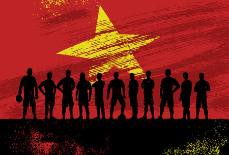 Silhouette of soccer team with flag of Vietnam as a background, Vector Illustration