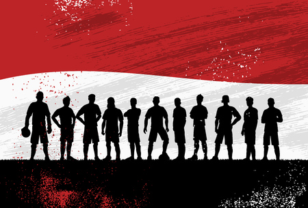 Silhouette of soccer team with flag of Indonesia as a background, Vector Illustration