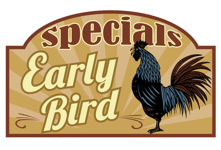 Retro early bird specials sign with hand drawn rooster crowing in the farm, vector Ilustrace