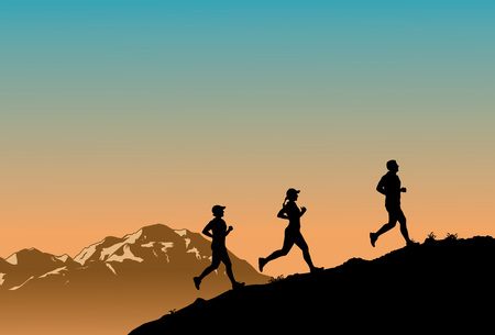 Silhouette of three people running up the hill