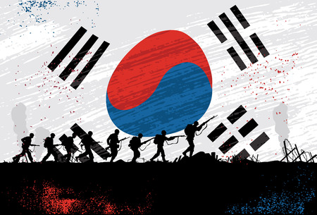Silhouette of soldiers fighting with a flag of south korea as a background