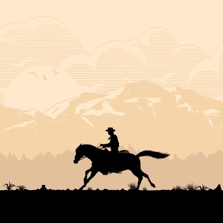 Sylwetka kowboja na koniu o zachodzie słońca, ilustracja wektorowa