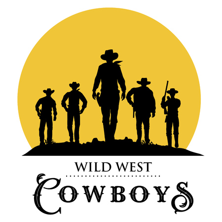 Silhouette of five cowboys walking forward