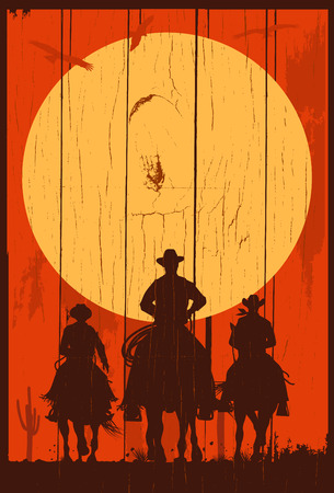 Silhouette of three cowboys riding horses on a wooden board Ilustrace