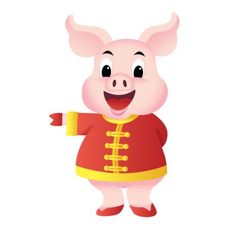 Cartoon pig in traditional Chinese costume, Chinese character means happiness, vector Ilustrace