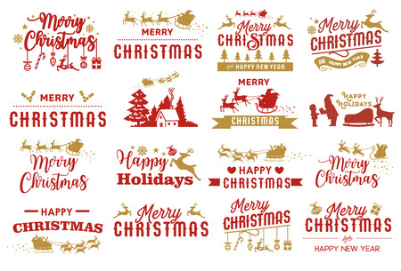 Set of Merry Christmas labels, Holidays elements, Vector Illustration
