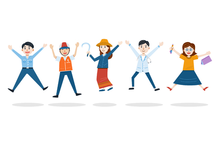 Thailand Labor Day , People with different Occupation, Vector Illustration