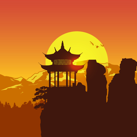 Silhouette of Chinese pavilion on the mountain at sunset, Vector
