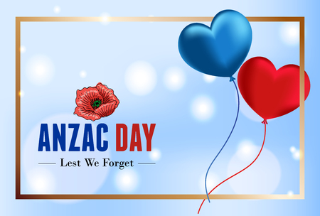 Anzac banner with flying balloons, Vector