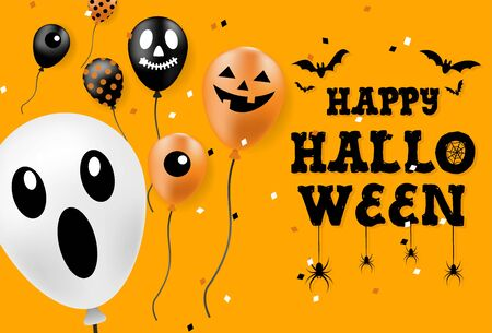 Happy Halloween banner, party balloons, all objects are grouped. Imagens - 132067639