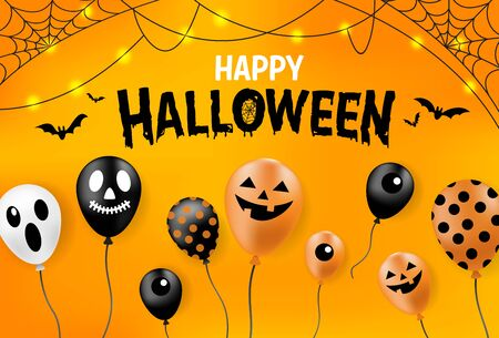 Happy Halloween banner, party balloons, all objects are grouped.