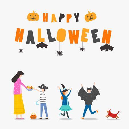 Flat design, Children in Halloween costumes trick or treating, Vector Illustration Standard-Bild - 132067476