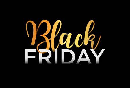 Bannière de vente vendredi noir, conception de lettrage, Illustration vectorielle