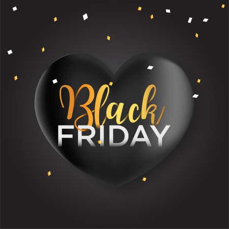 Black Friday banner, black ballon shaped heart and confetti 向量圖像