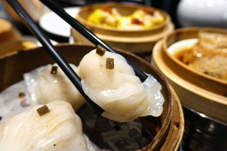 Chinese dim sum, Black truffle har gao (shrimp dumplings)