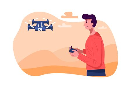 Flat design, llustration of a man operating a drone, Vector