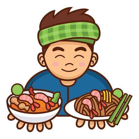 Cute cartoon Thai man serving Pad Thai and Tom Yum Soup Illustration