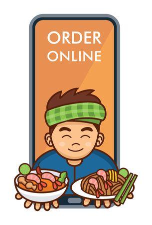 Cute cartoon Thai man serving Pad Thai and Tom Yum Soup, Vector Illustration