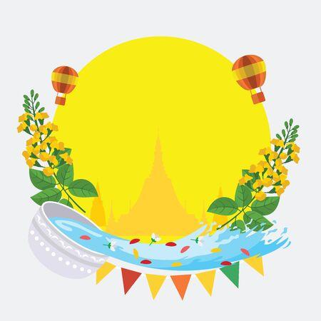 Thingyan, Burmese New Year Festival, Water Festival in Burma, Vector Illustration