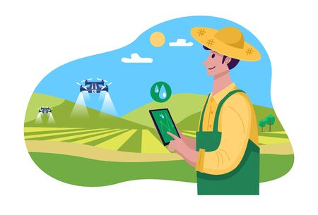Future of farming, Young farmer operating drone to spray fertilizer on the green field, Vector Illustration Illustration