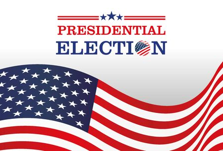 Presidential Election banner,Waving flag of the United States with text vote 2020.