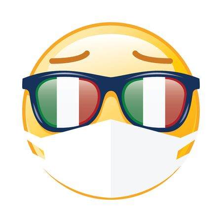 Smiley face with flag of Italy sunglasses and mask on white background, Vector