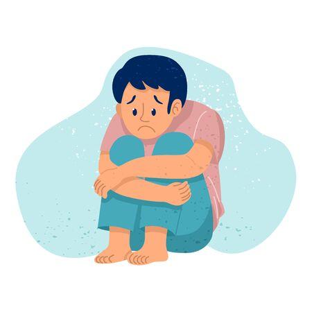 Sad depressed young man sitting alone, Vector Illustration