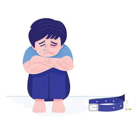 Child abuse, Illustration of a boy with bruises sitting alone crying. Vector