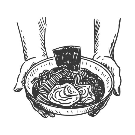Japanese food, Hand drawn of chef serving ramen. Vector