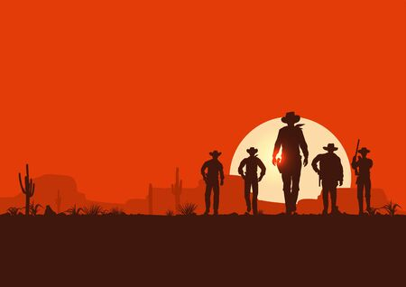 Silhouette of five cowboys walking forward banner  イラスト・ベクター素材