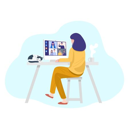 Video conferencing at home, Woman having video call meeting with clients at home. Vector Ilustracje wektorowe