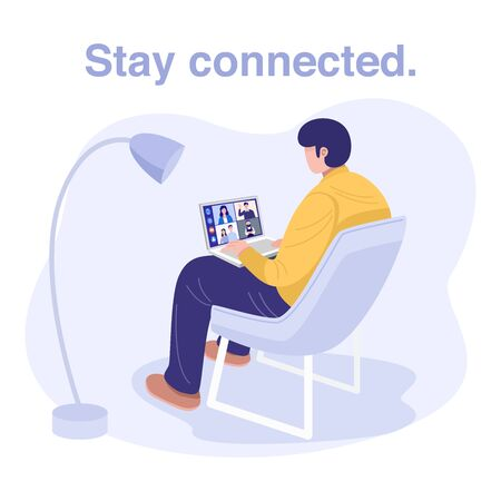 Video conferencing at home, Man having video call meeting with clients at home. Vector