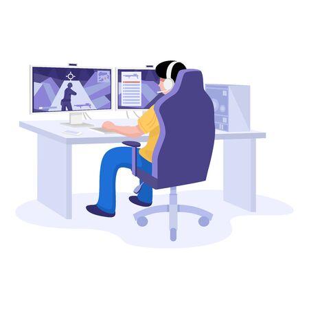 Design plat, jeune joueur jouant à un jeu vidéo en ligne portant un casque. Vecteurs