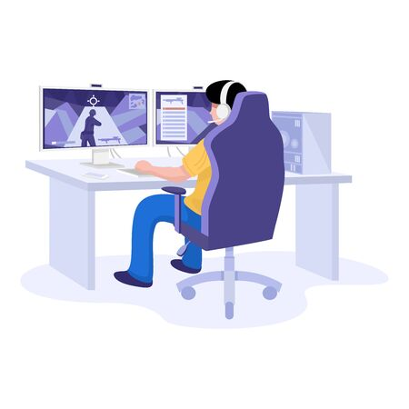 Flat design, Young gamer playing online video game wearing headphone.