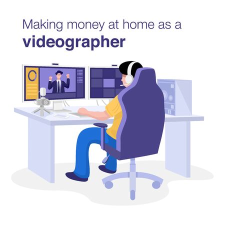 Make Money at Home Concept, A man editing video on computer at home. Vector