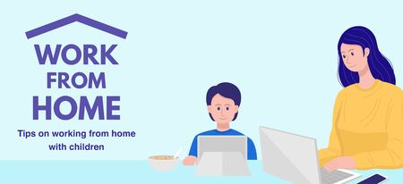 Work from home concept, Mother working on laptop while her son watching cartoon. Vector