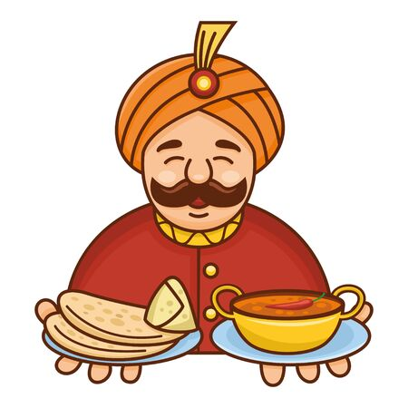 Cute cartoon Indian chef serving curry, roti and samosa, Vector Illustration