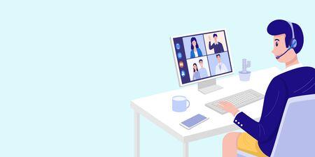 Vidéoconférence à la maison, homme ayant une réunion par appel vidéo avec des clients à la maison. Vecteur Vecteurs
