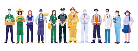 Thank You Essential Workers Concept. Various occupations people wearing face masks. Vector Vecteurs