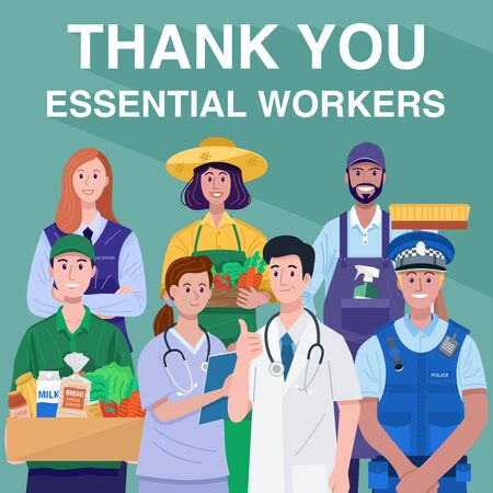 Thank You Essential Workers Concept. Various occupations people. Vector Ilustração