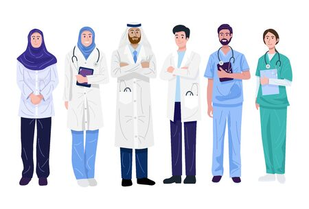 Illustration of Middle-East doctors and nurses isolated on white