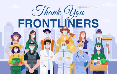 Thank You Frontliners Concept. Various occupations people wearing protective masks. Vecteurs
