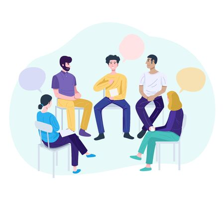Therapy session concept, Young man sharing his problems at group meeting. Stock Illustratie