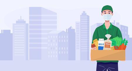 Delivery man wearing face mask delivering groceries