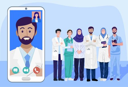 Digital health concept, Illustration of doctors and nurse using a smart phone for consulting patient online 向量圖像