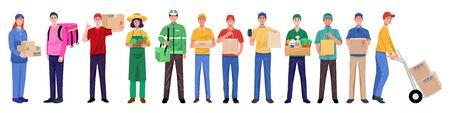 Flaches Designkonzept, Set von Lieferboten in verschiedenen Charakteren. Vektor