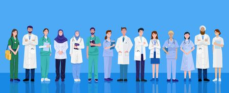 World health day, Group of medical doctors and nurses of different nationalities.