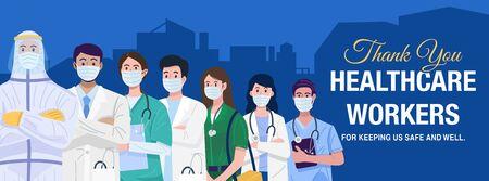 Frontline heroes, Illustration of doctors and nurses characters wearing masks. 向量圖像